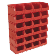 sealey- Plastic Storage Bin 150 x 240 x 130mm – Red Pack of 24